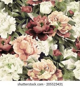 Seamless floral pattern with roses on dark background, watercolor.