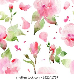 Seamless floral pattern with roses, watercolor. Watercolor roses. #2