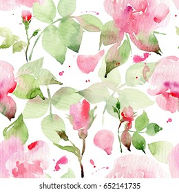 Seamless floral pattern with roses, watercolor. Watercolor roses. #3