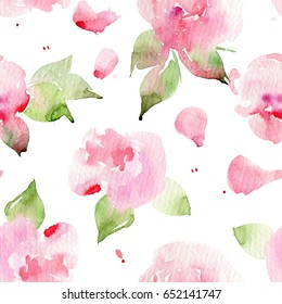 Seamless floral pattern with roses, watercolor. Watercolor roses. #1