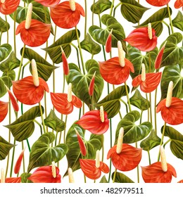 Seamless floral pattern with tropical flowers. Anthurium, flamingo flower. Botanical handmade painting illustration on white background.