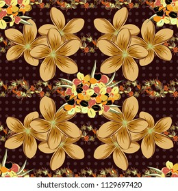 Seamless floral pattern in violet, orange and blue colors with motley cosmos flowers. Raster illustration.