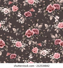 Seamless floral pattern with white, purple and pink roses on dark background, watercolor.