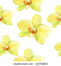Seamless floral pattern with yellow orchid. watercolor