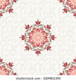 Seamless floral vintage background. Round ornament with fantastic flowers and leaves. Simple delicate ornament. Motives of ancient Indian fabrics. Tree of Life collection