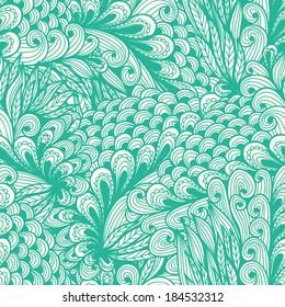 Seamless floral vintage blue doodle pattern with spirals. Raster version