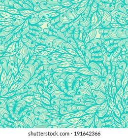 Seamless floral vintage blue doodle pattern with hand drawn plants. Raster version
