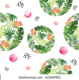 Seamless floral watercolor pattern with tropical plants.