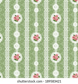 Seamless floral white lace pattern on green background