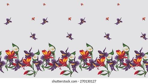 Seamless Flower  Pattern. Summer background garden for design
