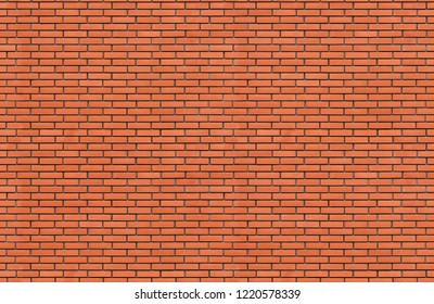 Seamless fragment of red brick wall. brickwork for background or texture