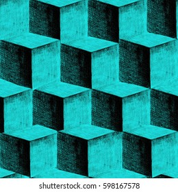 Seamless geometric background of 3D cubes vector hand drawn
