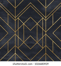 Seamless geometric pattern on paper texture. Art Deco background