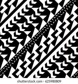 Seamless geometric pattern. Repeating ethnic ornamental design. Zigzag and stripe shapes elements. Modern black and white texture