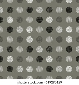 Seamless geometrical pattern with circles, endless background with hand drawn textured geometric figures. Pastel Graphic illustration Template for wrapping, web backgrounds