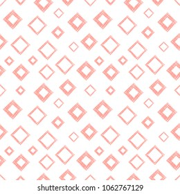 Seamless geometrical pattern with rhombus, squares. endless background with hand drawn textured geometric figures. Pastel Graphic illustration Template for wrapping, web backgrounds, wallpaper