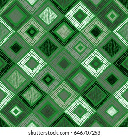 Seamless geometrical pattern with rhombus, squares, rectangles endless background with hand drawn textured geometric figures. Pastel Graphic illustration Template for wrapping, web backgrounds
