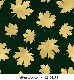 Seamless Gold Maple Leaf Pattern