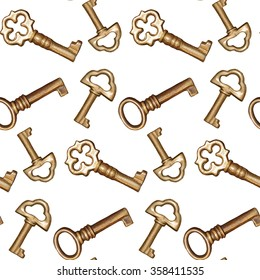 Seamless golden keys on a white background pattern