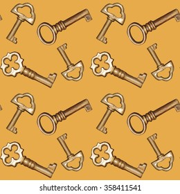 Seamless golden keys on a yellow background pattern