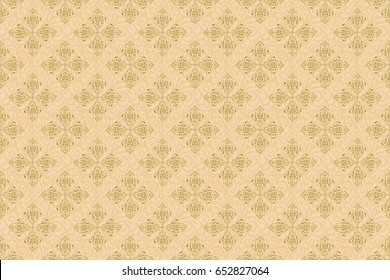 Seamless golden vintage pattern on beige background. Raster old moroccan, arabian and turkish ornaments.
