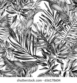 seamless graphical black and white hand drawn charcoal tropical pattern, tropic plants, monstera leaf, areca palm, banana leaves.