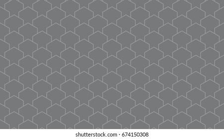 Seamless gray isometric pillars outline pattern