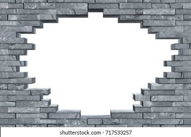 seamless gray slate stone rock wall with breakthrough hole texture modern  design pattern background