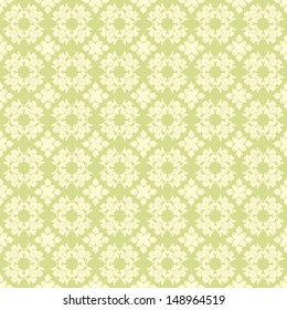 Seamless Green Damask Pattern