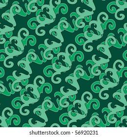 Seamless green swirl ornament pattern