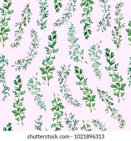 Seamless green thyme pattern, Watercolor herbal decor, cooking spices background with natural watercolor illustration, art for craft label design, bright vegetarian banners, menu of restaurants