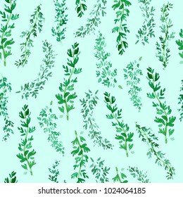 Seamless green thyme pattern, Watercolor herbal decor, cooking spices background with natural watercolor illustration, art for craft label design, bright vegetarian banners, menu of restaurants.