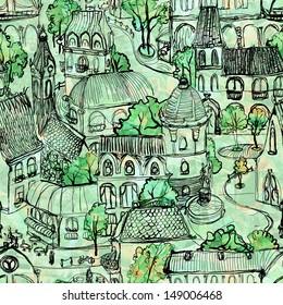 Seamless green town illustration