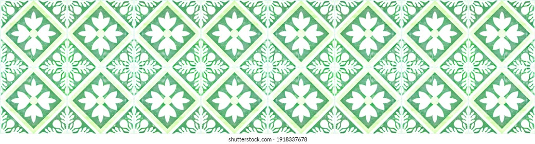 Seamless grunge worn vintage old green white concrete stone cement tiles with leaves flowers rhombus diamond square mosaic texture background banner panorama