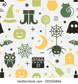 Seamless Halloween colorful pattern with festive Halloween icons. Design for wrapping paper, paper packaging, textiles, fabric, holiday party invitations, banner, greeting card.