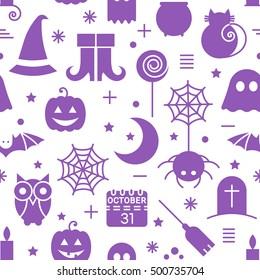 Seamless Halloween monochrome violet and white pattern with festive Halloween icons. Design for wrapping paper, paper packaging, textiles, holiday party invitations, greeting card.