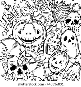 Seamless halloween pattern with ghost, pumpkins, bat and broom. Black and white