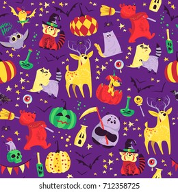 Seamless Halloween pattern with magic traditional elements isolated on purple background - witch hat, pumpkin, bat, stars, spooky etc. Good for advertising, media, cards design, packaging paper
