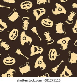 Seamless halloween pattern on brown background with pumpkin, cat, broom, pan, ghost, hat