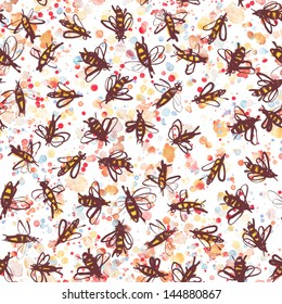Seamless hand drawn bees illustration