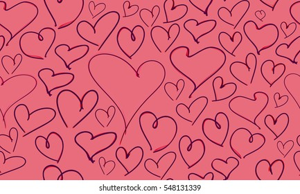 Seamless hand drawn hearts pattern. Wallpaper, wrapping, flyers, invitation, poster, brochure, banner, gift card, gift box wrap.