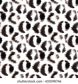 Seamless hand drawn jaguar pattern. Black animalistic spots on white background.