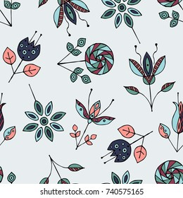 Seamless hand drawn pattern, decorative stylized childish flowers Doodle style, graphic illustration Ornamental cute hand drawing in brown colors Series of doodle, cartoon, sketch illustrations