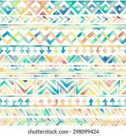 Seamless Hand Drawn Watercolor Ethnic Tribal Ornamental Pattern. Best for Fabric, Scrapbooking, Wrapping Paper, Greeting and invitation card Design Template.