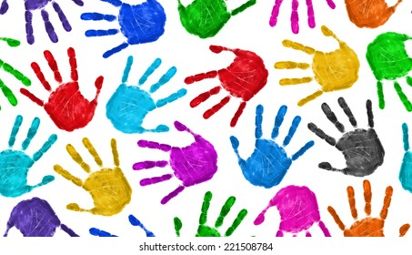 Seamless hands background isolated on white - teamwork concept