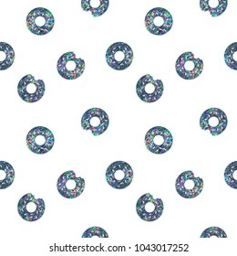 Seamless Holographic Shining Stickers Pattern. Donuts on white