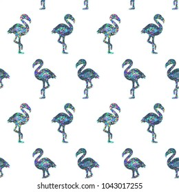 Seamless Holographic Shining Stickers Pattern. Flamingos on white