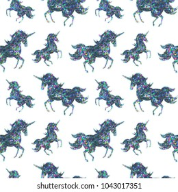 Seamless Holographic Shining Stickers Pattern. Fairy Unicorns.