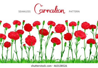 Seamless horizontal border of Carnation flowers. The buds on long stems with grass. Ample filling space design