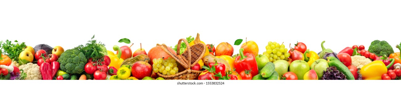 Seamless horizontal pattern bright colorful vegetables and fruits isolated on white